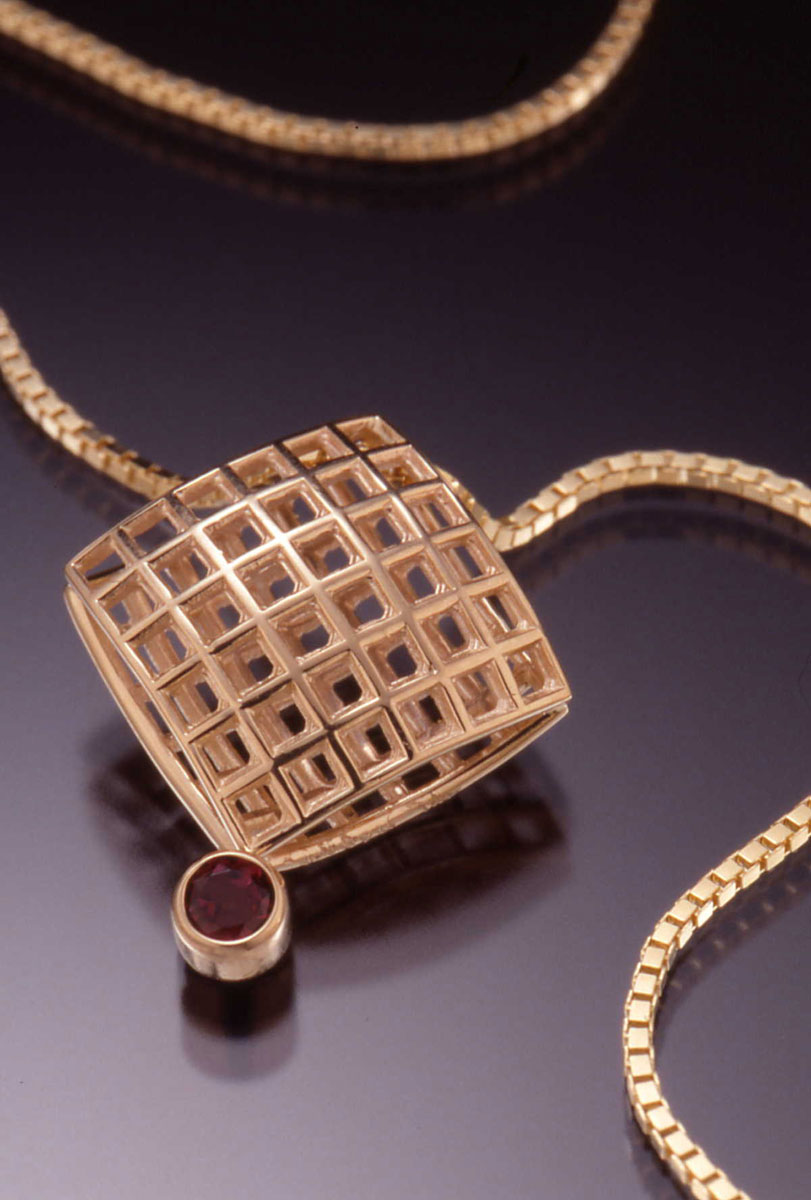 Large Mesh Pendant with stone