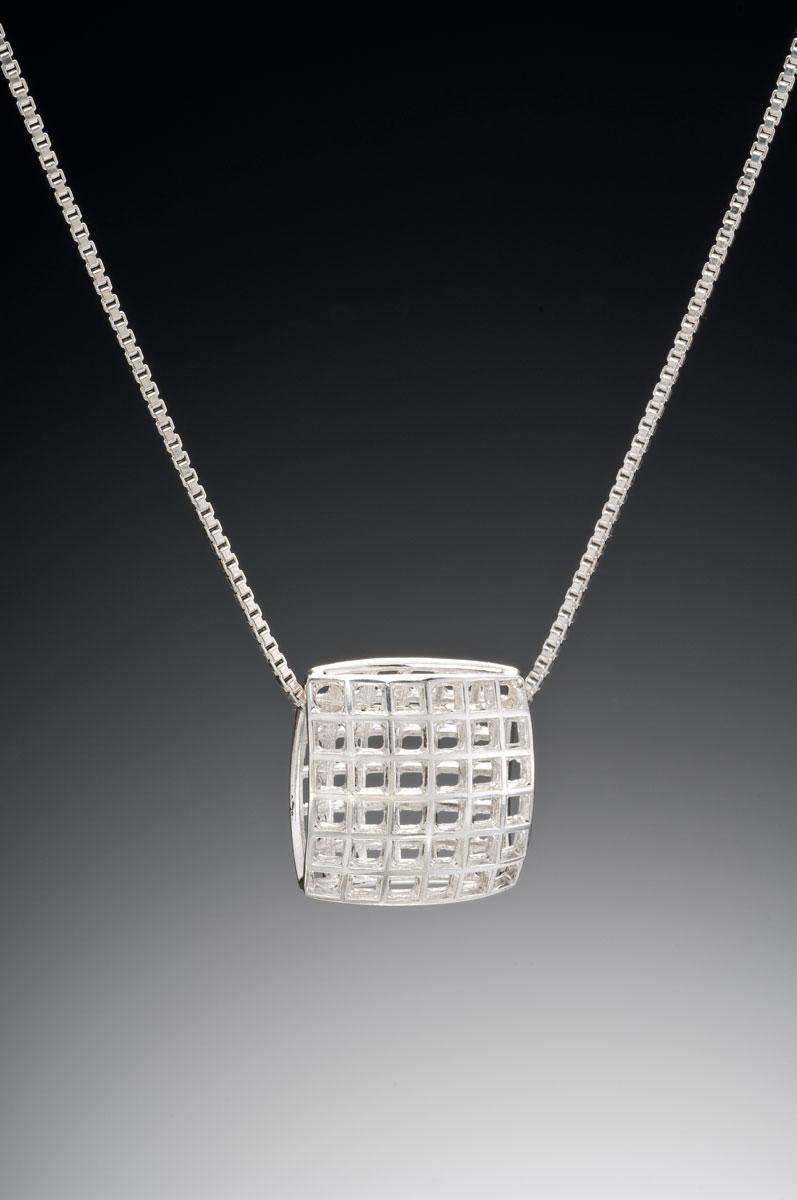 Mesh silver large pendant