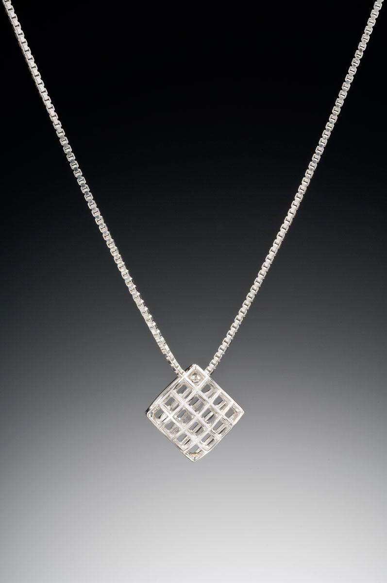 Mesh- silver small pendant