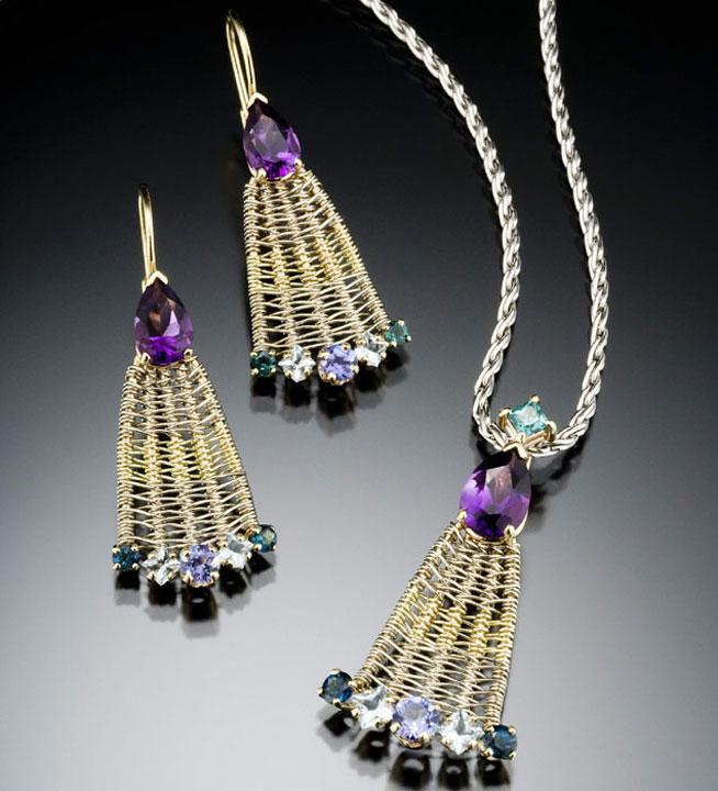 Peacock pendant & earrings