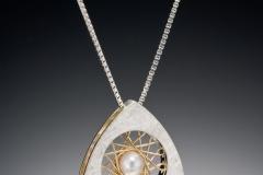 Spyro silver large triangle pendant pearl
