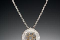 Spyro silver small round pendant