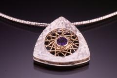 Spyro silver amethyst triangle