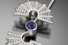 Fandango colored stone swirl pendant