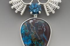 Chrysacolla & blue topaz pendant