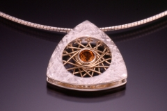 silver citrine triangle pendant