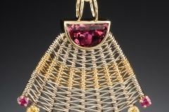 Aztec pendant pink tourmaline & mixed gems